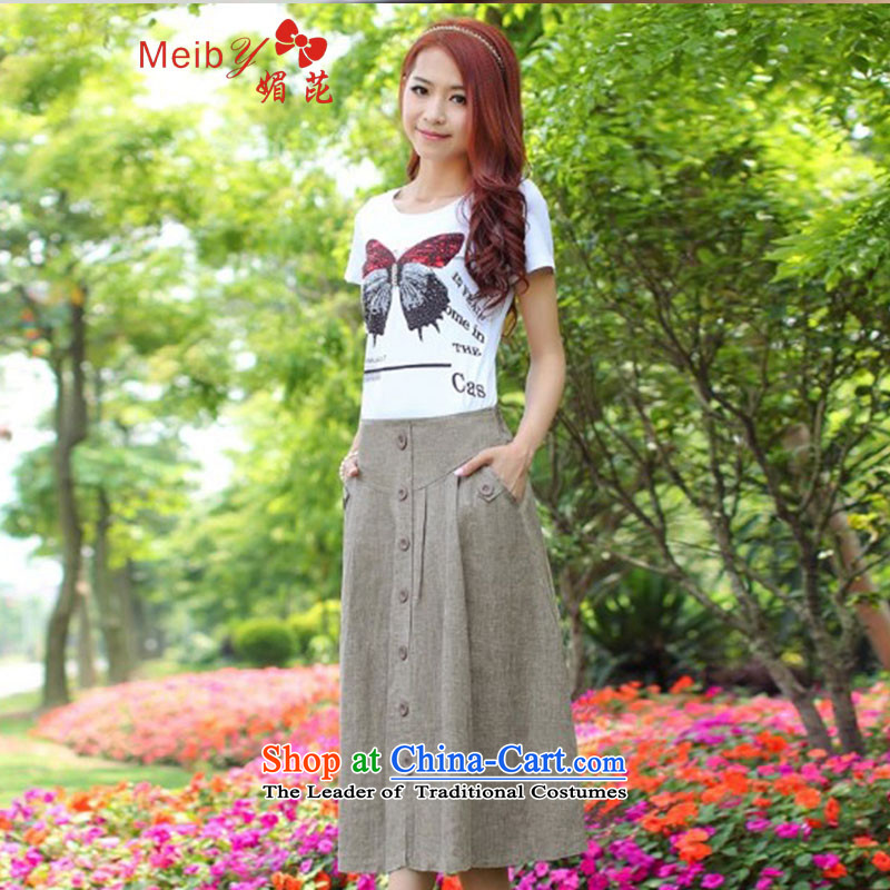 Maximum number of ladies wild flax female body skirt long skirt Sleek and versatile large new Korean female senior cotton linen upscale hundreds pleated skirts 1466 picture color?XXXXL