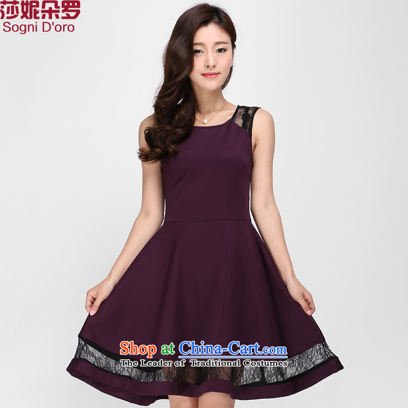 Luo Shani flower code vests dresses thick sister 2015 Summer video in thin lace long skirt 1137 purple2XL top 10 Return to the $20 toll charges