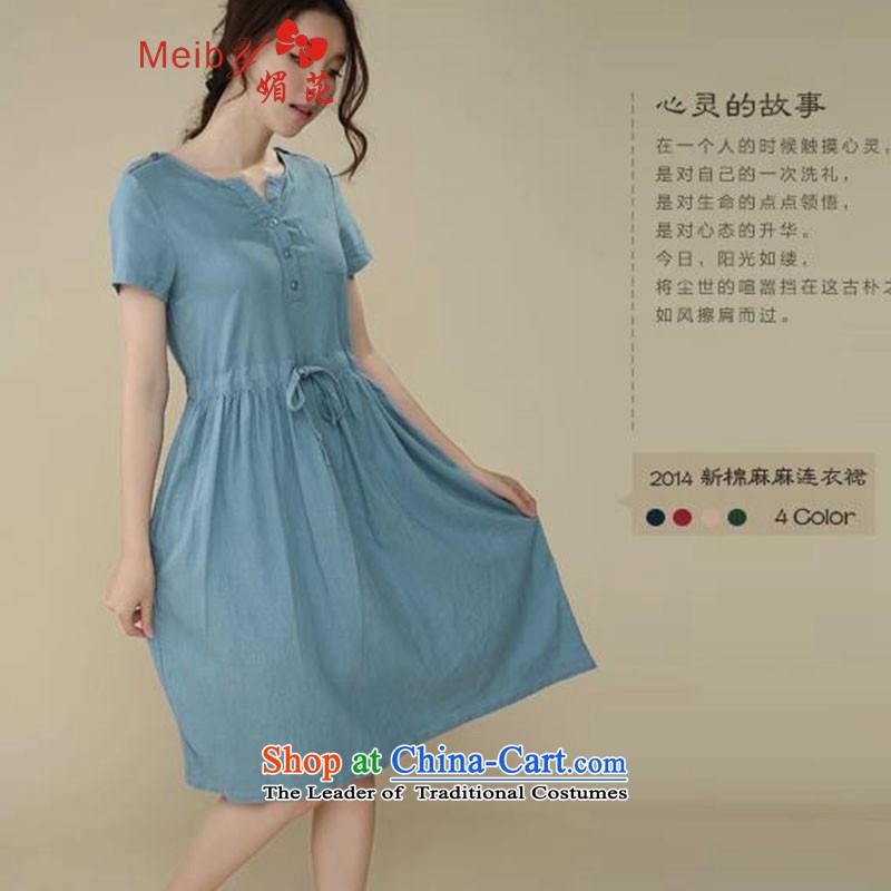 Large meiby female wild Sleek and versatile large summer new larger female cotton linen dresses V-Neck Strap Linen Dress 1.29 M Blue