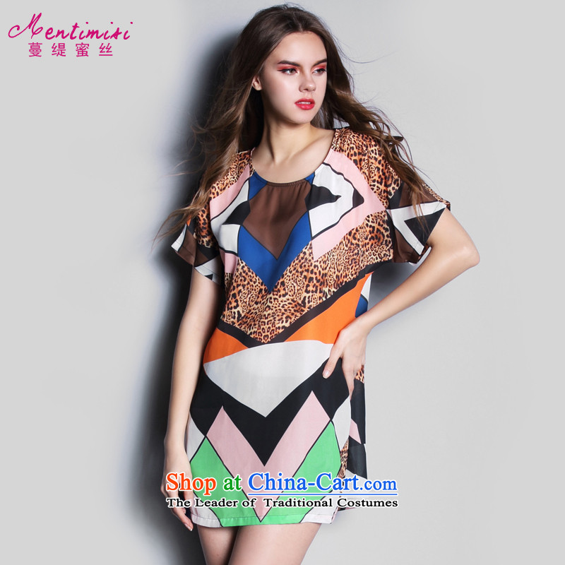 Overgrown Tomb economy honey silk European Summer 2015 new site short-sleeved stylish patterns larger chiffon dresses skirts S1636 MM thick photo color?XXL