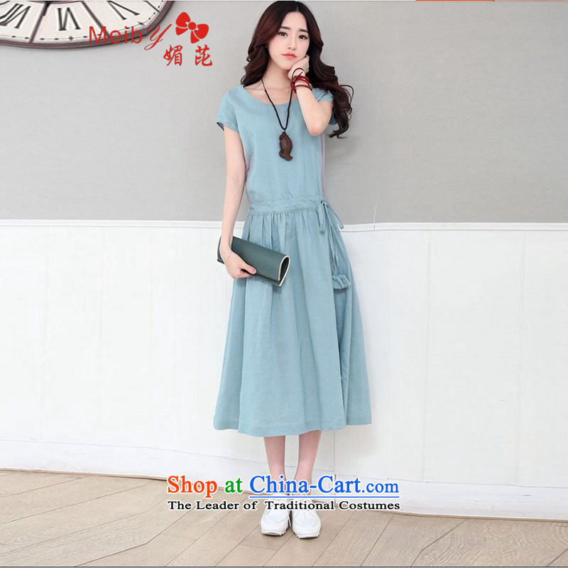 Large meiby female wild summer students skirts new women's dresses summer arts fan cotton linen, long, short-sleeved linen petticoat field 8066 skirt skyblue . S .
