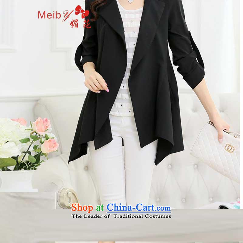 Of the new large meiby female Sleek and versatile Sleek and versatile large new thin coat of Korean leisure jacket light jacket Sau San Black, of 9150 (meiby) , , , shopping on the Internet