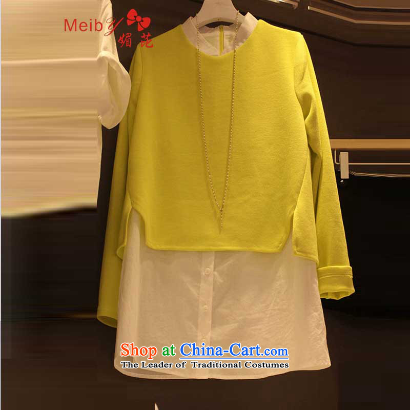 Large meiby female wild Sleek and versatile large new Korean version of large numbers of female graphics thin temperament leave two shirts sweater 9180 Yellow S