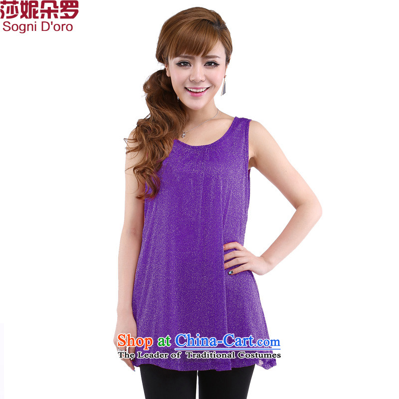 Luo Shani flower girl thick sister code vest summer new to increase the number of women's centers, forming the basis of the video thin clothes KIP 3100 6XL Purple