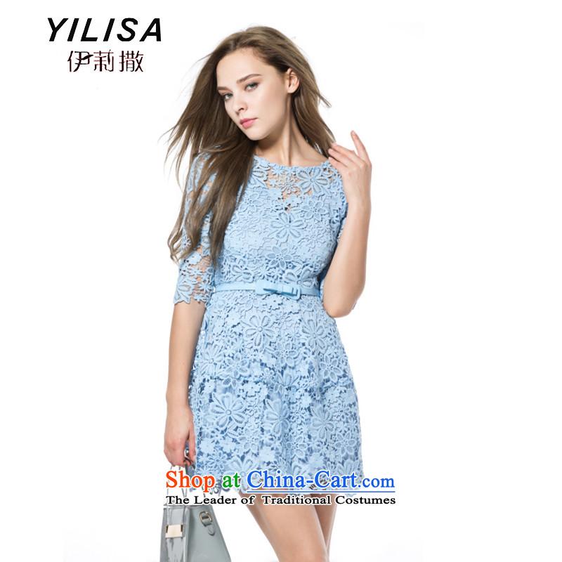Yilisa extra women 2015 spring_summer load new European and American women spend hook engraving bon bon swing Sau San dresses J9909XXXL light blue