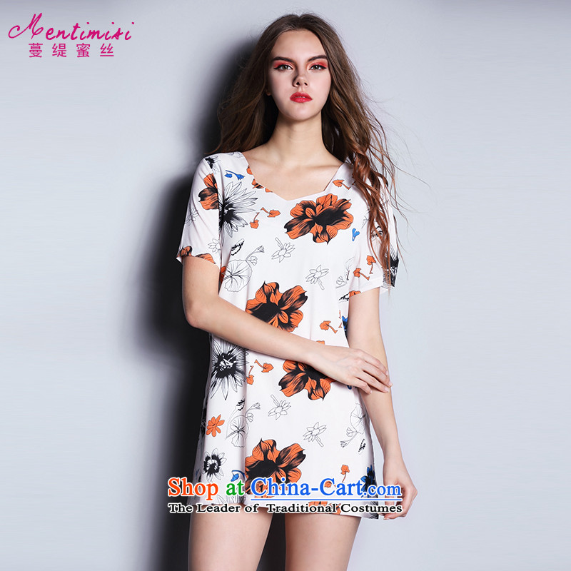 Overgrown Tomb economy honey population by 2015 Summer new xl female thick MM stylish and simple stamp chiffon shirt picture color large number 1612 3XL around 922.747 160