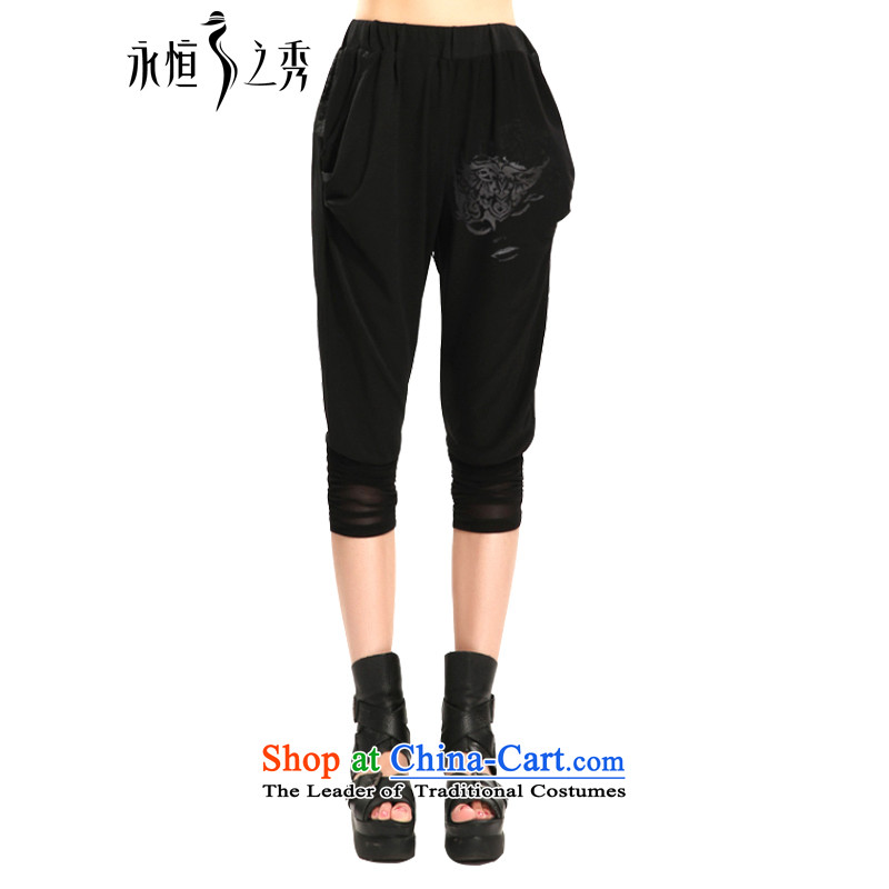 The Eternal Yuexiu Code women Capri thick sister 2015 Summer new thick mm thick, Hin thin stylish black in Korean waist video in Haran trousers thin black trousers XL