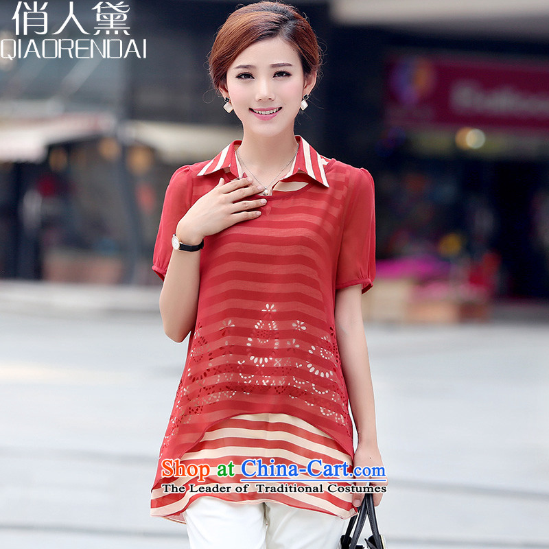 For peopleto increase Doi 2015 Code Women Korean loose chiffon forming the short-sleeved T-shirt two kits iron XIUHONGXL