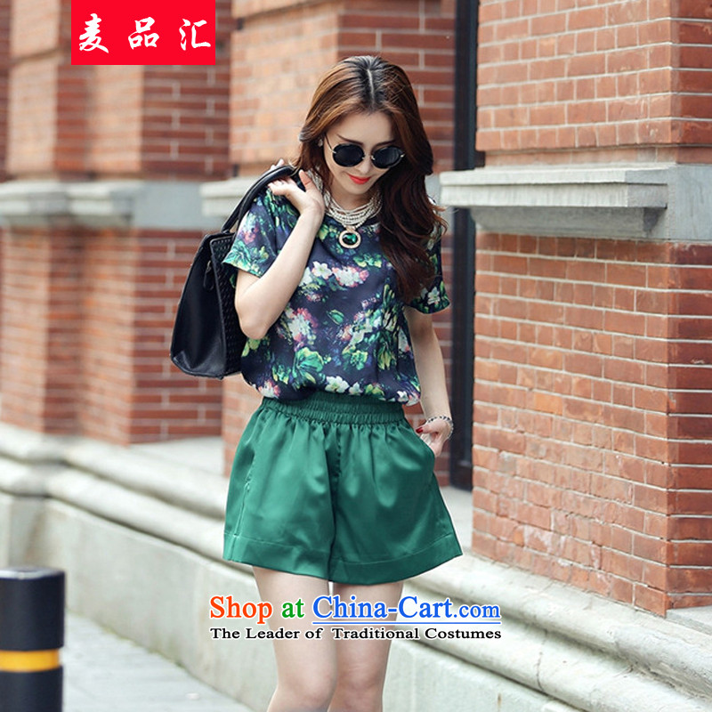 Mr Hui 2015 summer products new ultra thick MM larger Sau San video thin short-sleeved T-shirt with round collar stamp + short two Kit 8955 Green 3XL