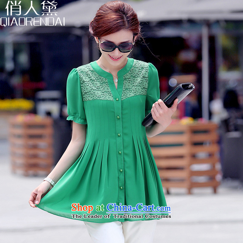 People are large mm thick Diana Lady Chiffon Netherlands 2015 Summer female Korean version of the new liberal, forming the Netherlands female green聽XXL
