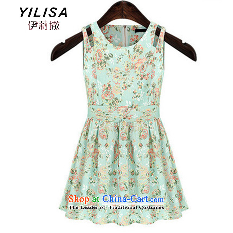 Large YILISA Women 2015 new European and American casual summer saika Bow Tie Sau San sleeveless dresses J9101+ map color XL
