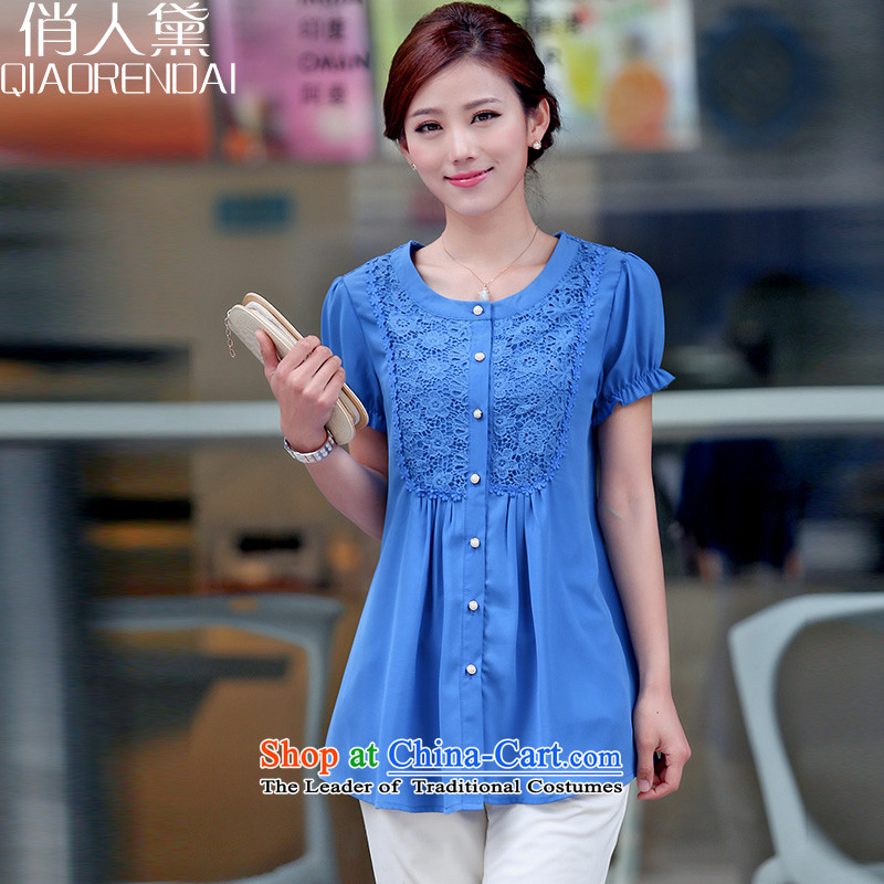 For the people by 2015 Summer Doi new middle-aged women chiffon Netherlands shirt, long, short-sleeved shirt with thick mmt blue XXL