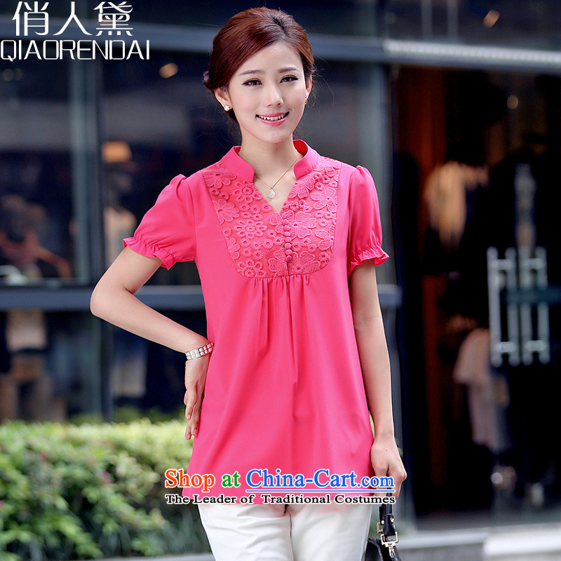People are large Diana Lady's summer new fat mm chiffon short-sleeved shirt 2015 Graphics thin coat of liberal XXXL red