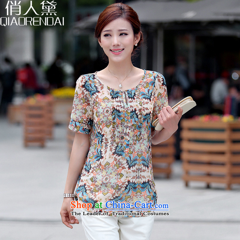 For People Doi 2015 XL female thick mm summer new liberal video thin mother replacing stamp chiffon shirt Blue M