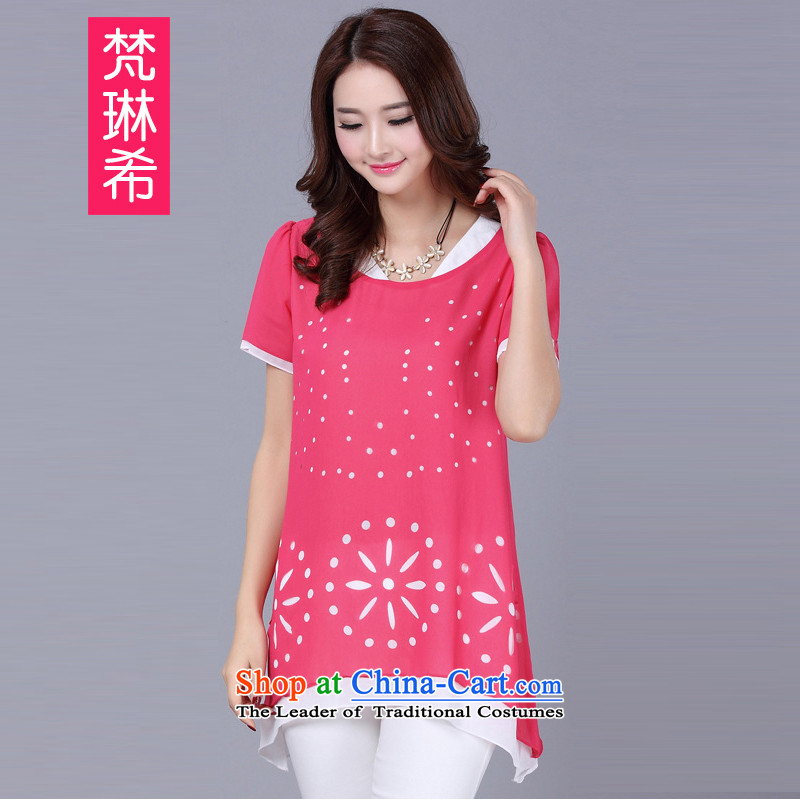 Van Gogh's large Greek Women 2015 Summer new Korean Ladies casual double-collar short-sleeve shirt thick sister chiffon women forming the Netherlands lace 3.8 and RedXL