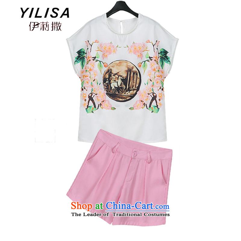 Yilisa summer new larger T-shirts shorts, short-sleeved kit ultra retro stamp T-shirt + pink shorts C5813 female figure colorXL