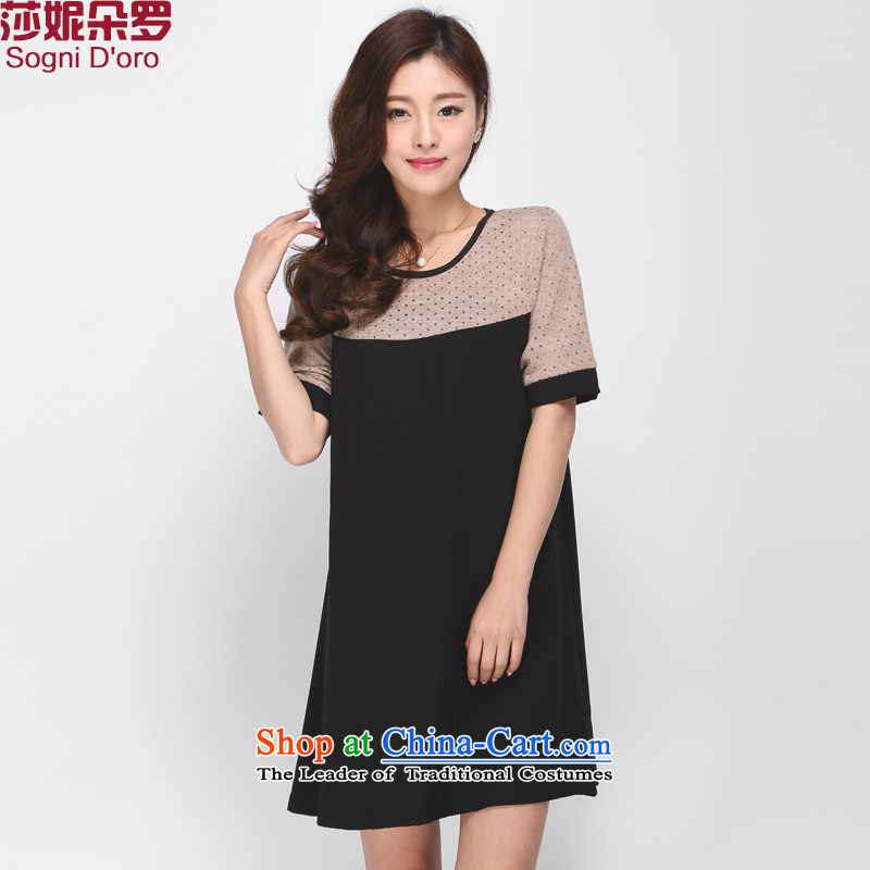 The latte macchiato, Shani to increase women's code thick mm Summer 2015 new round-neck collar short sleeve loose dress 1135 Black 2XL
