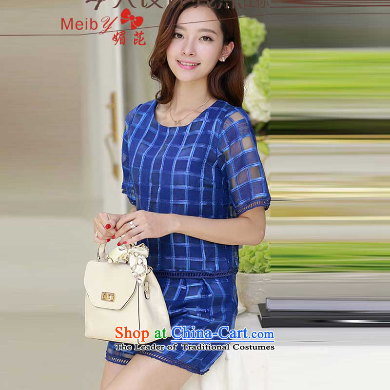 Maximum number of ladies meiby hundreds of new large short-sleeved blouses and relaxd casual kit female summer shorts Summer Package 5 823 advisory letters blue S