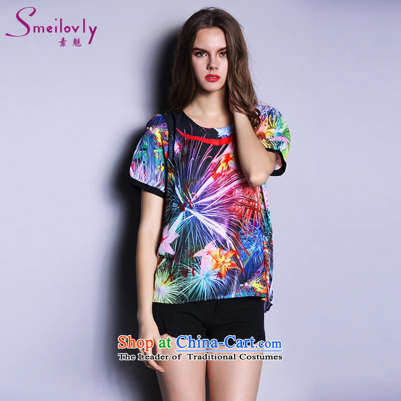 The Director of the Europe and the new on 200 catties to increase women's code thick MM thick sister summer short-sleeved chiffon t shirt chiffon �17爌icture color large code 4XL around 922.747 180
