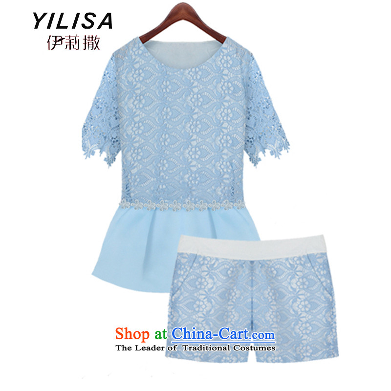 Large YILISA Women's Summer t-shirt Skort Kit 2015 Western new dresses plus shorts lace stitching kit J9057 map color XXL