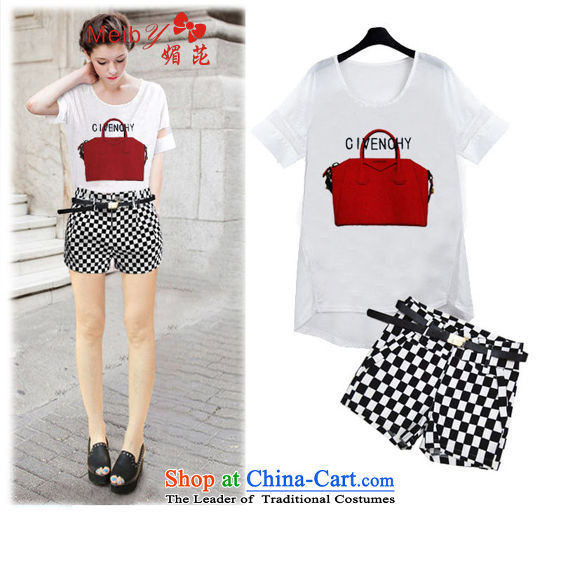 Maximum number of ladies wild Sleek and versatile large new ultra large female thick MM flex chiffon short-sleeved T-shirt + checkered shorts kit improvements with 806.1 picture color?XXXXXL