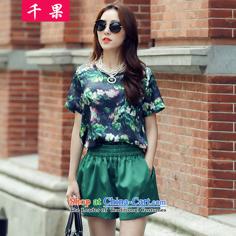 The results of the?2015 Summer new to xl Women Korean thick MM loose stamp graphics t-shirt + shorts thin leisure wears female?8955?Green?3XL145-165 around 922.747