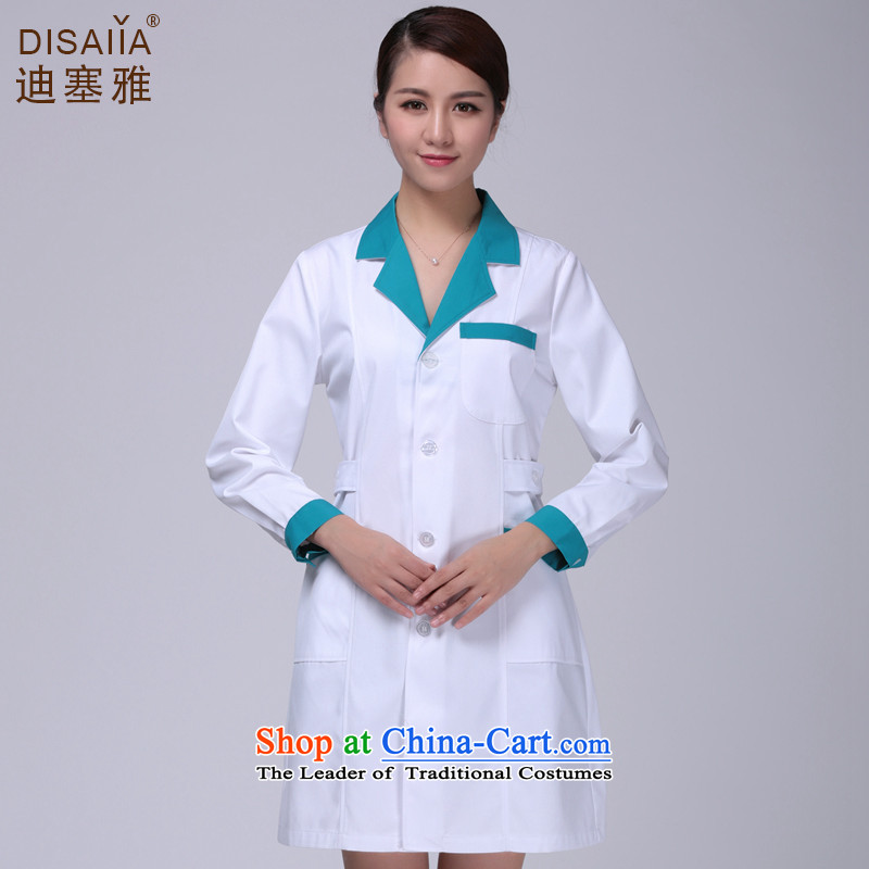 Ducept Ya Long-sleeved clothing pharmacies winter clothing men and women doctors serving nurse uniform anti-bacterial environmental protection does not with the ball white gowns white suit for green collar female燲L