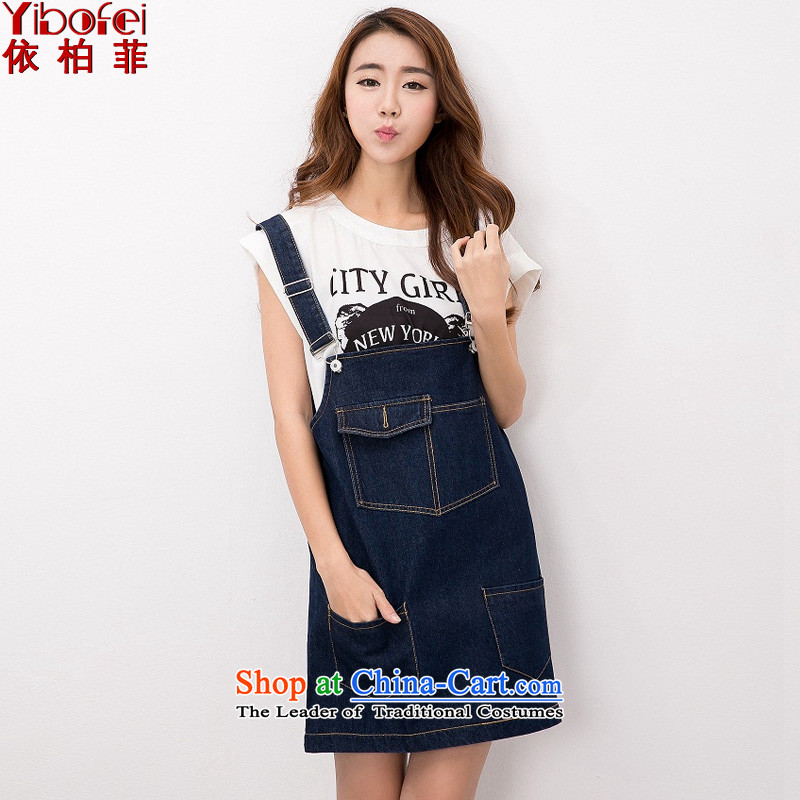 In accordance with the perfect?summer 2015 new thick mm retro graphics large thin women loose cowboy strap skirt strap dresses?Y2139?dark blue?XL