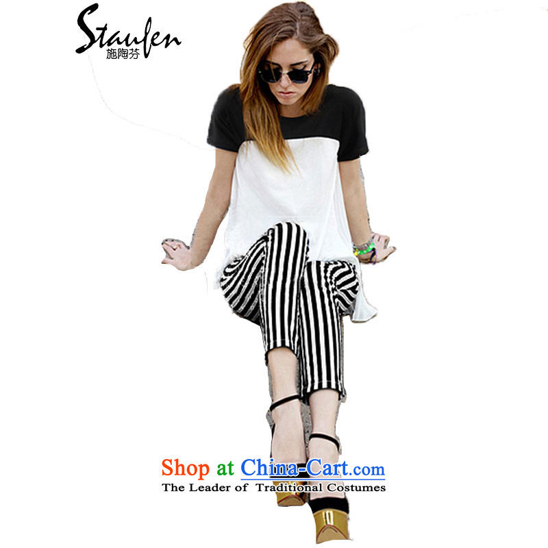 Stauffen?Summer 2015 Western New larger Sau San short-sleeved chiffon Stripe Pant Kit?8132?White?M