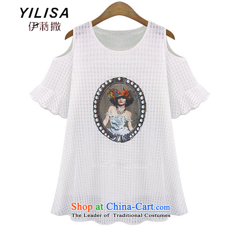 Large YILISA women's summer short sleeve loose bare shoulders a skirt thick mm soft yarn for summer the medium to long term shirts K569 White 4XL