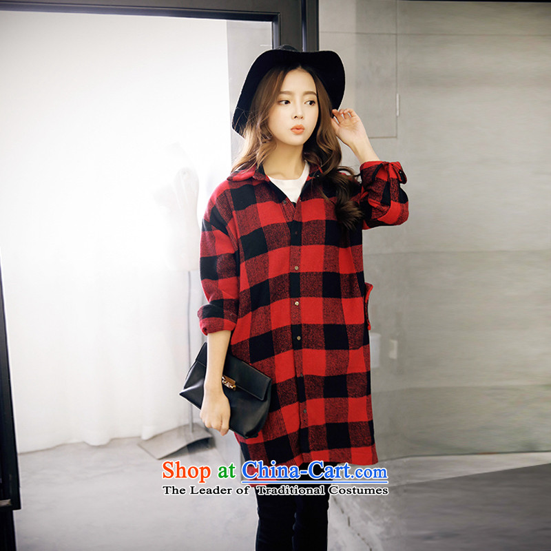 Maximum number of ladies 2015 Korean Spring New thick mm thin in a very casual graphics long grid shirt jacket female Red Grid聽XL聽pre-sale of 4.6