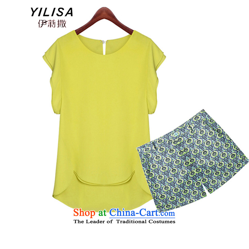 Large YILISA Women's Summer new bat sleeves shirt t-shirt and shorts, t-shirt kit fat mm summer casual shirt shorts kit K608 map color4XL