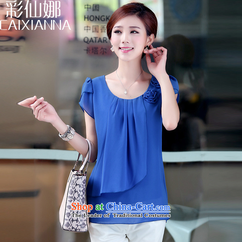 The thick mm2015 sin also larger women in older loose video thin short-sleeved T-shirt chiffon shirt燲L_120-135_ blue T-Shirt