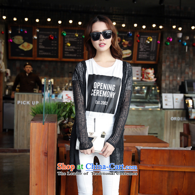Spring 2015 new larger female Korean version of fat mm thin loose in the video long engraving knitted jackets cardigan female black XXL