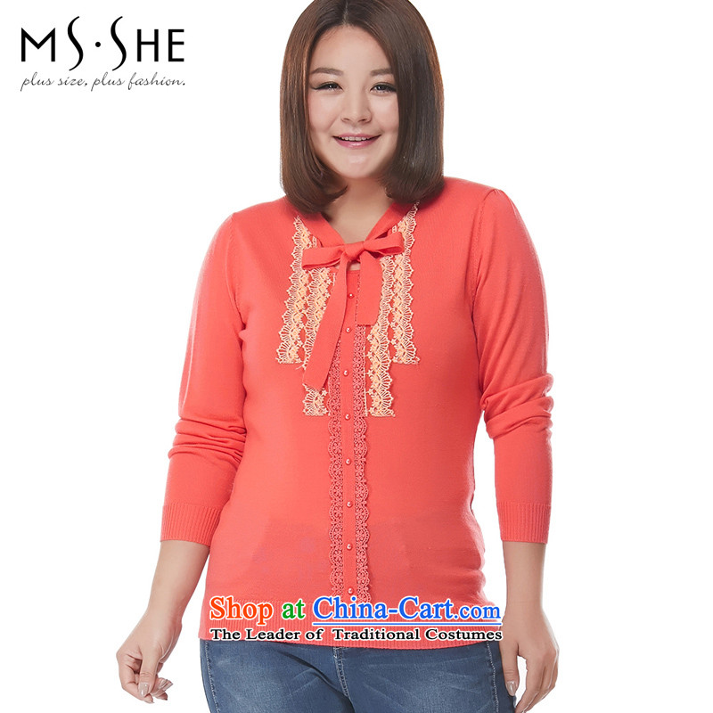 Msshe xl women 2015 new fall thick sister replacing staple lace pearl long-sleeved sweater pullovers 2297 red-orange2XL