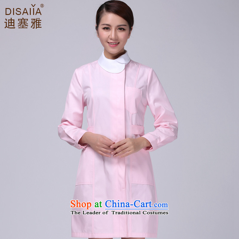 Ducept Nga Fall/Winter Collections thick long-sleeved nurse uniform women interns white gowns nurse uniform pharmacies work uniforms pink - Female XXXL