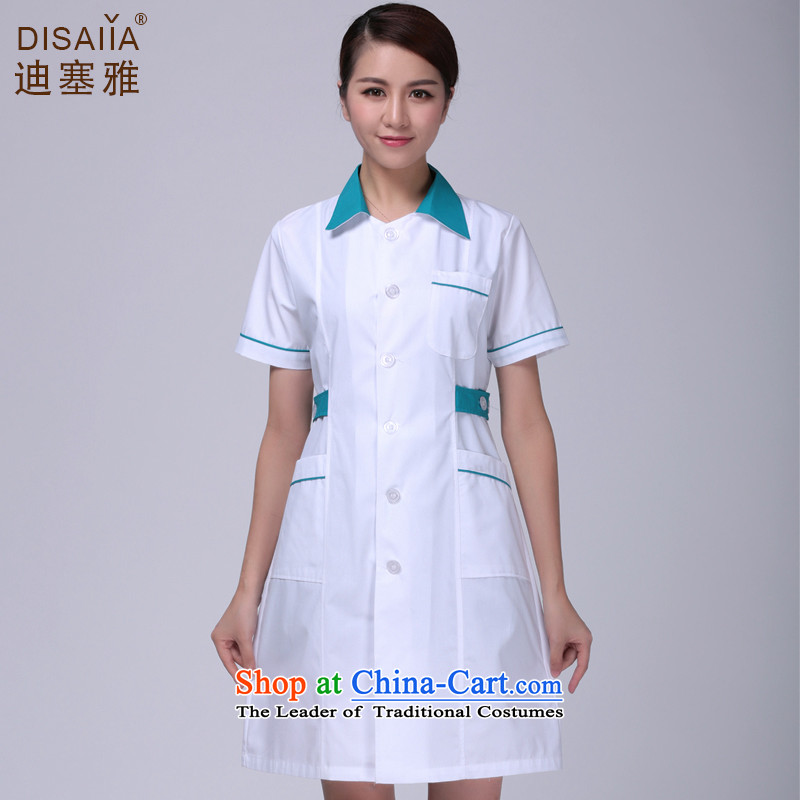 Ducept Nga spring and summer thin, short-sleeved pharmacies doctors to serve women interns white gowns nurses work white uniform green collar with a small needle-collar-girl燲L