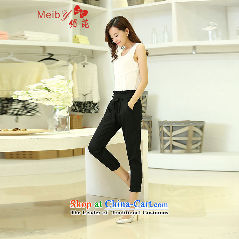 Sleek and versatile larger of meiby new larger female Sleek and versatile Sau San sleeveless chiffon vest + 9-piece set two shorts replacing blackXXL, boundary of (meiby) , , , shopping on the Internet