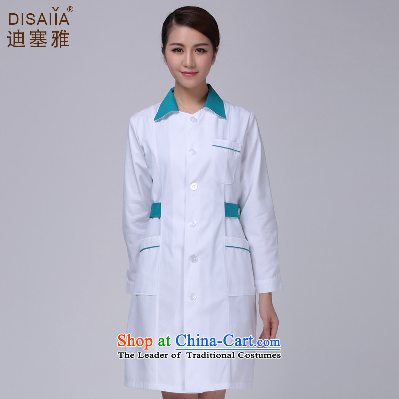 Ducept Nga winter clothing long-sleeved pharmacies Doctors serving women environmental antimicrobial white gowns medical import nurse uniform email white green package for long-Sleeve - Female Tsim燤