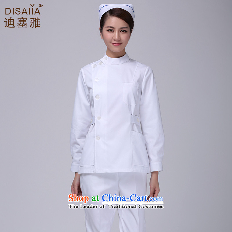 Ducept Nga winter split long-sleeved nurse uniform dental oral doctors working dress female聽ICU Medical beauty service kit white聽L