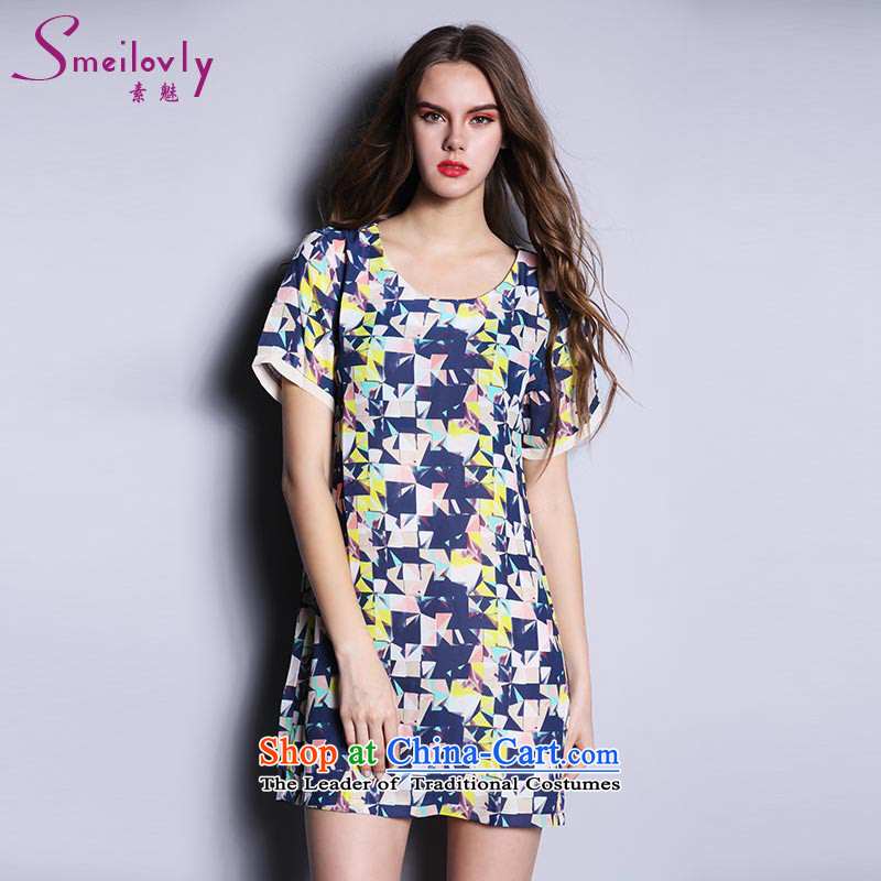 The Director of the Europe and the sister to thick xl female thick mm Summer 2015 Korean short-sleeved chiffon dresses 200 catties?2616?picture color large code XL