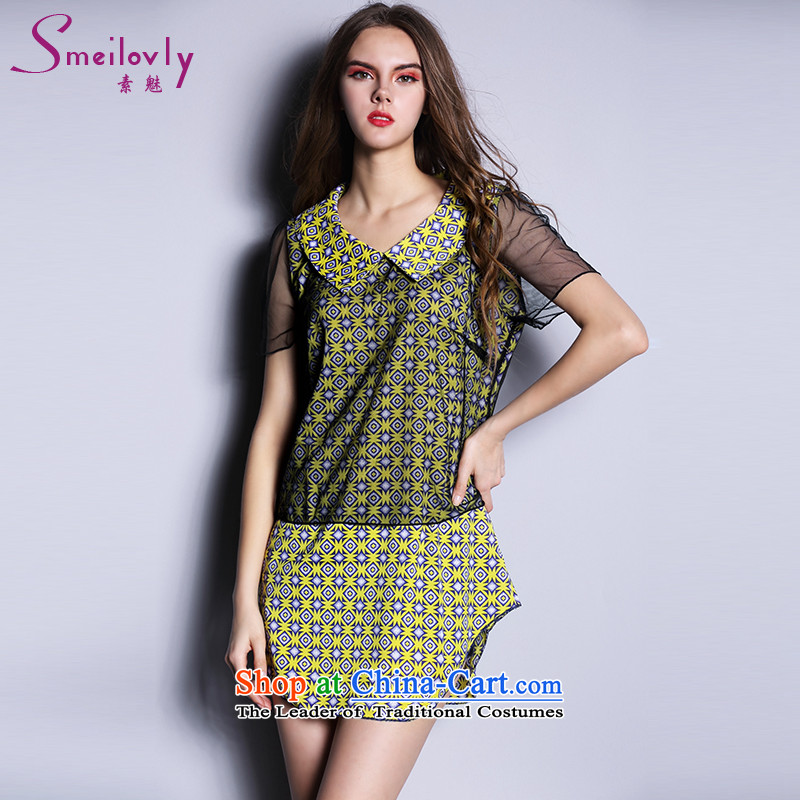 The Director of the Europe and the sister to thick xl female thick mm Summer 2015 Korean short-sleeved in long chiffon t shirt�89燣arge Yellow 5XL around 922.747 200