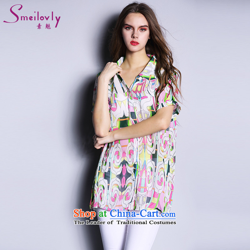 The Director of the Europe and the sister to thick xl female thick mm Summer 2015 Korean short-sleeved shirt that chiffon long thin1680picture color Large 5XL code around 922.747 200