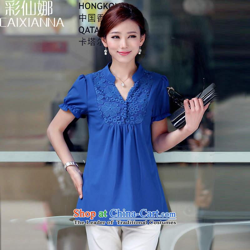 Also the female sin short-sleeved Korean version of large code women 2015 Graphics thin chiffon relaxd clothes female thick blue shirt mm燣