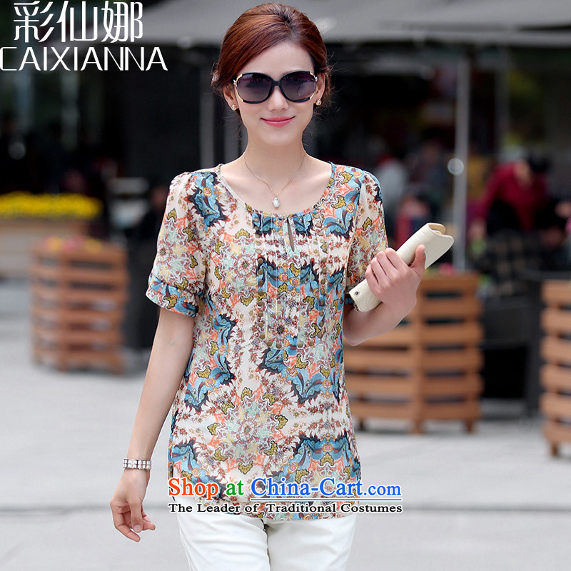 The maximum number is also sin women 2015 summer short-sleeved T-shirt chiffon stamp female thick mm Korean small loose clothes blue燲L