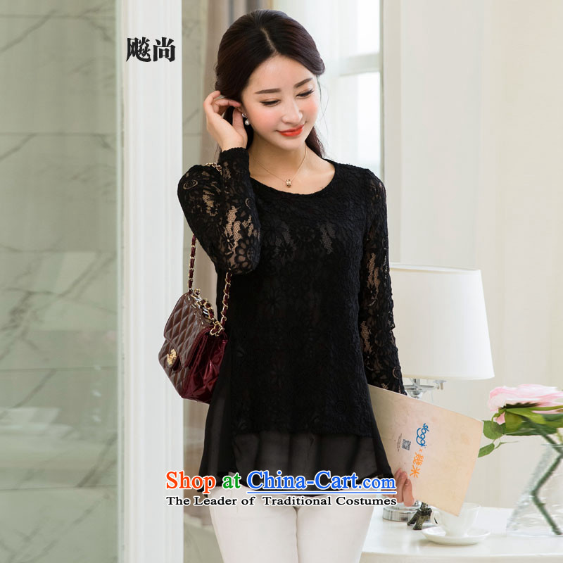 The new 2015 mm thick larger female round-neck collar long-sleeved sweater chiffon lace spring new shirt black燣