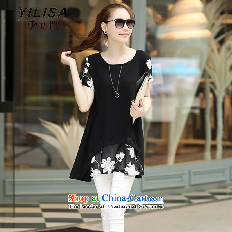 Large YILISA Women 2015 Summer new short-sleeved stamp sunscreen chiffon shirt thick MM summer chiffon silk dresses Y6355 blackL
