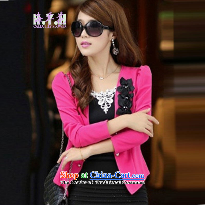 The sea route take the Korean edition Foutune of video thin manually Plate flower bubble cuff suits OL attire large wild jacket 5D2803 better red燲L