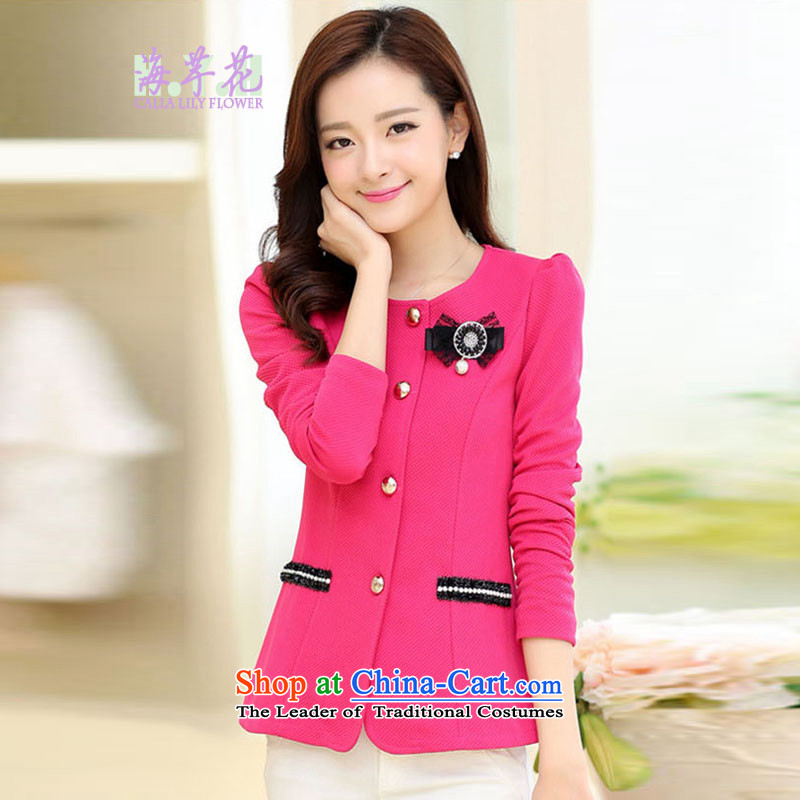 The sea route take the Korean version of the new round-neck collar bubble cuff stereo crop Sau San Foutune of loose OL attire for larger 5C2803 jacket in redXL