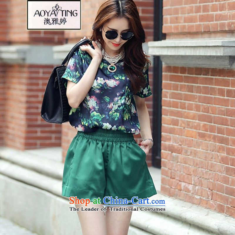O Ya-ting 2015 new to increase women's code thick mm summer short-sleeved T-shirt + leisure wears pants 8955 green two kits 125-145 2XL recommends that you Jin